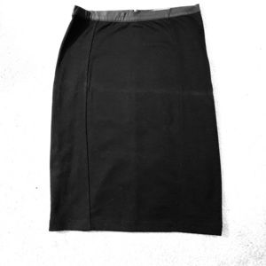 Black pencil skirt with leather like band at top